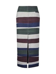 Carven Striped Open Slit Midi Skirt Multi