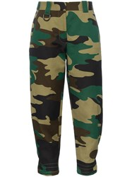 Burberry Camouflage Print Ramie Cotton Cargo Trousers Green