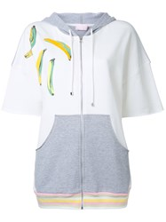 Giamba Shortsleeved Zipped Hoodie Women Cotton 42 White