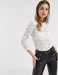 Morgan High Neck Contrast Neck Sheer Lace Top In White