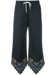 See By Chloe Floral Embroidered Cropped Trousers Black