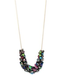 Betsey Johnson Two Tone Multi Stone Long Statement Necklace Gold