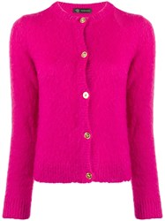 Versace Fluffy Knitted Cardigan Pink