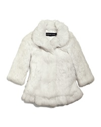 Adrienne Landau Rabbit Fur Coat White Size 2 16
