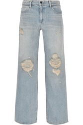 Alexander Wang Drag Distressed Low Rise Wide Leg Jeans Light Denim