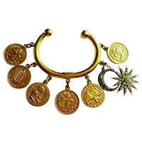 Sormeh Lifestyle Rare Vintage Chanel Gold Plated Coin Charm Bracelet