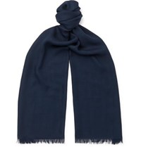 Loro Piana Fringed Cashmere And Silk Blend Scarf Navy