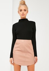 Missguided Nude Curve Hem Zip Back Faux Leather Skirt