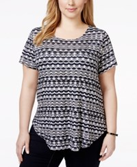 Alfani Plus Size Printed T Shirt Only At Macy's Scalloped Stripe