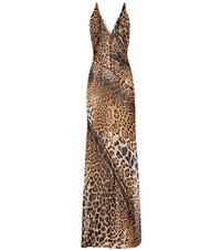 Saint Laurent Leopard Print Silk Dress Brown