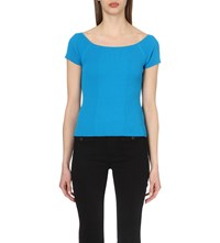 Karen Millen Ribbed Stretch Knit Top Aqua