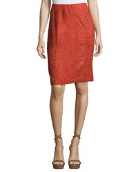 Moon River Eyelet Trim Faux Suede Pencil Skirt Rust
