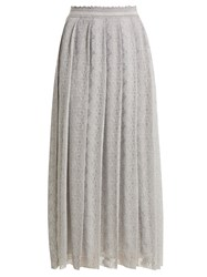 Missoni Lace Trimmed Pleated Knit Midi Skirt Silver