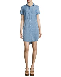 Frame Denim Le Short Sleeve Chambray Shirtdress Blue Women's Size L