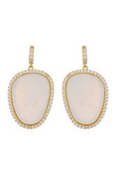 Freida Rothman 14K Gold Plated Sterling Silver Flat Cut Mother Of Pearl Cz Halo Earrings Metallic