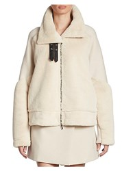Armani Jeans Faux Fur And Wool Jacket Ivory