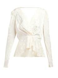 Johanna Ortiz Pale Young Eyes Polka Dot Satin Jacquard Top Ivory