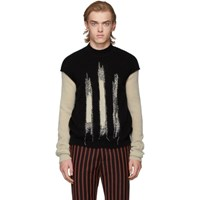 Ann Demeulemeester Black And Off White Crewneck Sweater