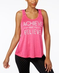 Ideology Achieve Graphic Racerback Tank Top Only At Macy's Molten Pink