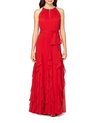 Tahari By Arthur S. Levine Chiffon Ruffle Skirt A Line Gown Red