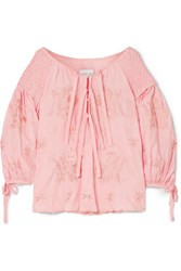 Innika Choo Smocked Embroidered Linen Top Pink