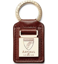 Aspinal Of London Metal Plaque Leather Keyring Cognac