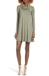 Socialite Women's Maddie Rib Knit Cowl Shift Dress Solid Light Olive
