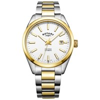 Rotary Men's Havana Automatic Date Bracelet Strap Watch Silver Gold
