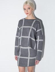 Pixie Market Grey Grid Two Piece Knit Dress