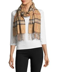 Lord And Taylor Jeweled Plaid Scarf Camel