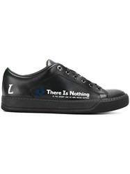 Lanvin Low Top Sneakers With Slogan Leather Rubber Black