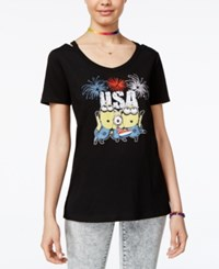 Hybrid Despicable Me Juniors' Minions Usa Graphic T Shirt By Black