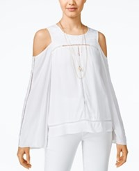 Xoxo Juniors' Cold Shoulder Bell Sleeve Top White