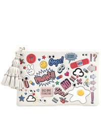 Anya Hindmarch Georgiana All Over Sticker Leather Clutch White