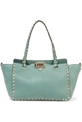 Valentino The Rockstud Small Textured Leather Tote Mint