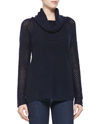 Neiman Marcus Cowl Neck Mesh Cashmere Sweater X