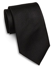 Saks Fifth Avenue Woven Silk Tie Black
