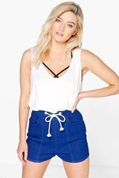 Boohoo Rope Tie Denim Short Blue