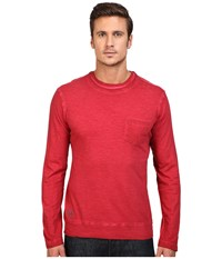 Vintage 1946 Slub Knit Double Crew Long Sleeve Tee Red Men's T Shirt