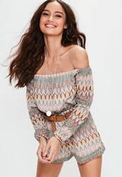 Missguided Petite Exclusive Nude Bardot Crochet Printed Playsuit