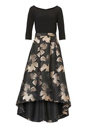 Vera Mont Metallic Print Evening Gown Black
