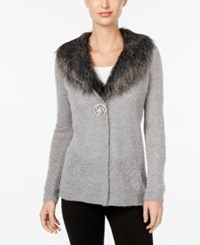 Jm Collection Petite Faux Fur Trim Cardigan Only At Macy's Medium Grey Htr