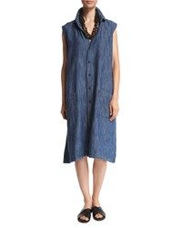 Eskandar Sleeveless Button Front Shirtdress Denim Blue