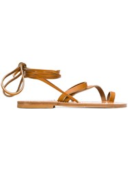 K. Jacques Ankle Fastened Flat Sole Sandlas Brown