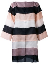 Gianluca Capannolo Striped Oversized Coat Women Silk 46 Nude Neutrals