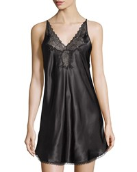 Oscar De La Renta Pink Label Hint Of Romance Lace Trim Nightgown Black