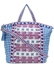 Dodo Bar Or Oversized Embroidered Check Tote Blue