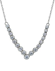 Lord And Taylor Cubic Zirconia Sterling Silver V Shaped Necklace