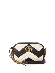 Gucci Gg Marmont Quilted Leather Shoulder Bag Black White