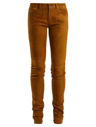 Saint Laurent Mid Rise Skinny Suede Trousers Light Brown